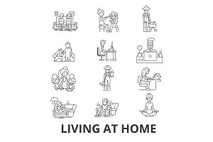 Living at home, help at home, living room furniture, living at home with parents line icons. Editable strokes. Flat design vector illustration symbol concept. Linear signs isolated