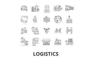 Logistics, transportation, warehouse, supply chain, truck, distribution, ship line icons. Editable strokes. Flat design vector illustration symbol concept. Linear signs isolated