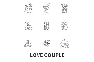 Love couple, romantic, love heart, kissing, love birds, happy couple, valentine line icons. Editable strokes. Flat design vector illustration symbol concept. Linear signs isolated