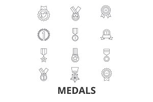 Medals, trophy, gold medal, award, medallion, olympic medal, winner, badge line icons. Editable strokes. Flat design vector illustration symbol concept. Linear signs isolated