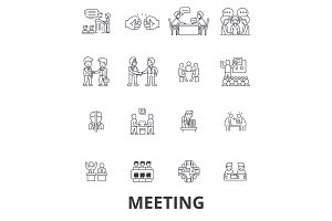 Meeting, conference, business room, presentation, office, handshake, consulting line icons. Editable strokes. Flat design vector illustration symbol concept. Linear signs isolated