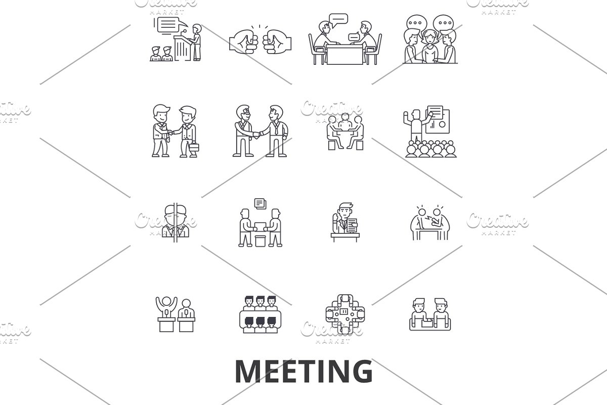 Meeting, conference, business room, presentation, office, handshake,  consulting line icons  Editable strokes  Flat design vector illustration  symbol