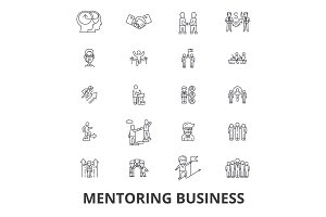 Mentoring business, mentor, coaching, business guidance, train, help, teamwork line icons. Editable strokes. Flat design vector illustration symbol concept. Linear signs isolated