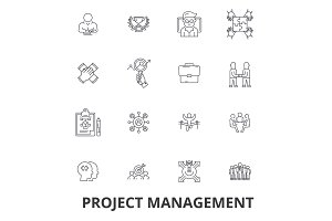 Project management, project, plan, consulting, chart, construction, engineering line icons. Editable strokes. Flat design vector illustration symbol concept. Linear signs isolated