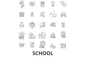 School, school building, education, classroom, pupil, school bus, school teacher line icons. Editable strokes. Flat design vector illustration symbol concept. Linear signs isolated