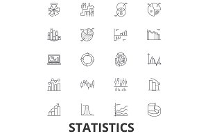 Statistics, infographics, data, chart, number, graphic, analytic, static concept line icons. Editable strokes. Flat design vector illustration symbol concept. Linear signs isolated