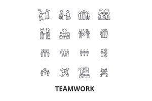 Teamwork, team, concept, working together, collaboration, success, partnership line icons. Editable strokes. Flat design vector illustration symbol concept. Linear signs isolated
