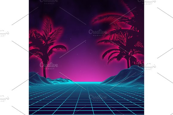Retro background futuristic landscape 1980s style. Digital retro landscape cyber surface. 80s party background . Retro 80s fashion Sci-Fi Background Summer Landscape. in Textures