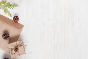 Light holiday wooden background