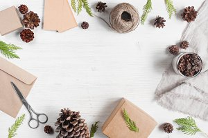 Light wooden holiday background