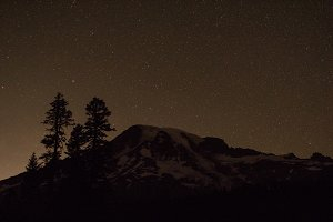 Stars Behind Mount Rainier
