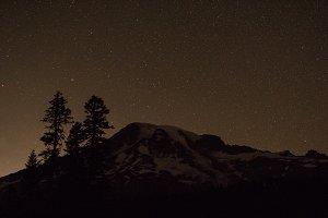 Stars Behind Mount Rainier