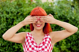 Happy red haired woman
