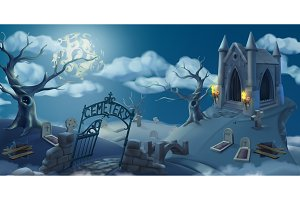 Cemetery,halloween background.Vector