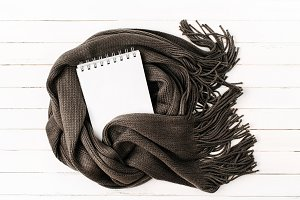 Empty card wrapped in scarf