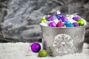 Christmas balls in bucket