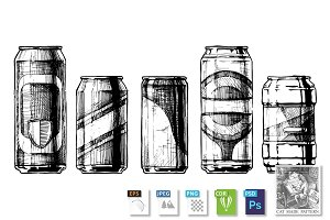 set of beverage cans