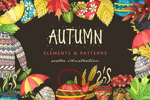 Autumn set. Doodle art