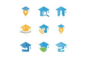 Set of graduate hat logo combination. School and college symbol or icon. Unique study and education logotype design template.