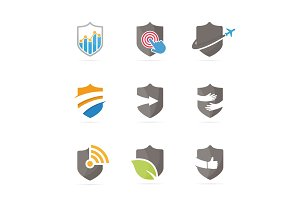 Set of shield logo combination. Security and protect symbol or icon. Unique law and guard logotype design template.