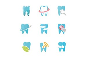 Set of tooth logo combination. Dental and oral symbol or icon. Unique clinic and medical logotype design template.