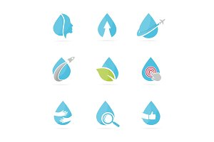 Set of water drop logo combination. Oil and droplet symbol or icon. Unique aqua and liquid logotype design template.
