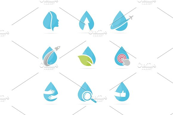 Set Of Water Drop Logo Combination Oil And Droplet Symbol Or Icon Unique Aqua And Liquid Logotype Design Template