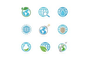 Set of world logo combination. Planet and earth symbol or icon. Unique global and network logotype design template.