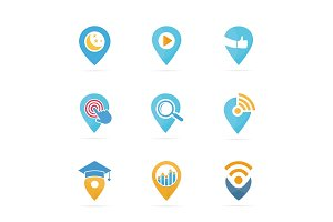 Set of map pointer logo combination. GPS locator and pin symbol or icon. Unique navigation and marker logotype design template.