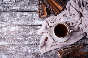 Coffee and wrap, cozy Scandinavian home interior