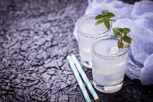 Cold drink with mint.