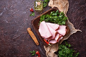 Sliced ham with spices