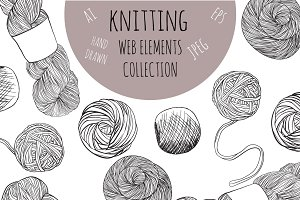 Hand drawn knitting elements