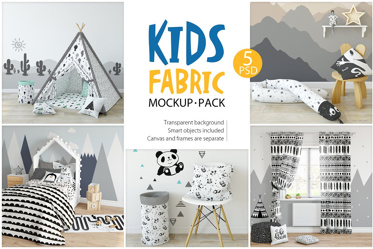 KIDS Fabric Mockup Pack - 1 ~ Product Mockups ~ Creative Market