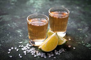 Mexican Tequila with salt and limes