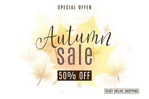 Vector illustration of vintage autumn season sale background