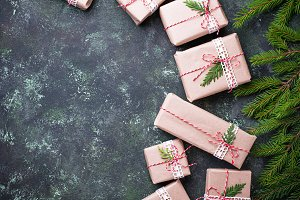 Christmas gift boxes in craft paper.