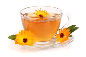 Calendula tea with fresh flowers isolated on white background