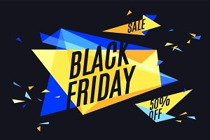 Colorful banner with text Black Friday