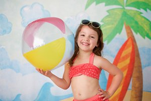 Little Girl with Beach Ball