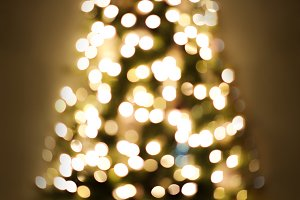 Christmas Tree Light Blurry Bokeh