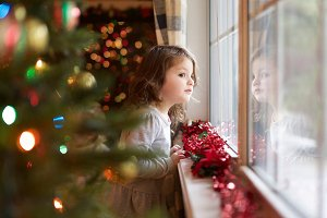Christmas Girl Waiting for Santa