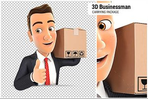 3D Businessman Carrying Package