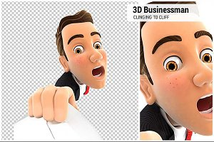 3D Businessman Clinging to a Cliff