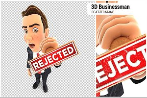 3D Businessman Rejected Stamp