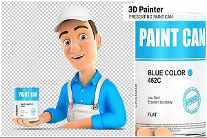3D Painter Presenting Paint Can