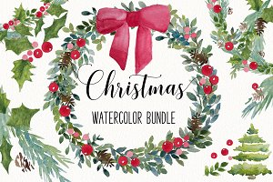 Christmas watercolor clip art BUNDLE
