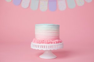 Pink Blue Ombre Birthday Cake