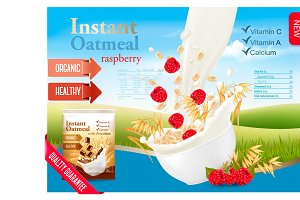 Instant oatmeal with strawberry