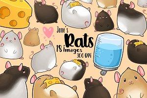 Kawaii Rats Clipart